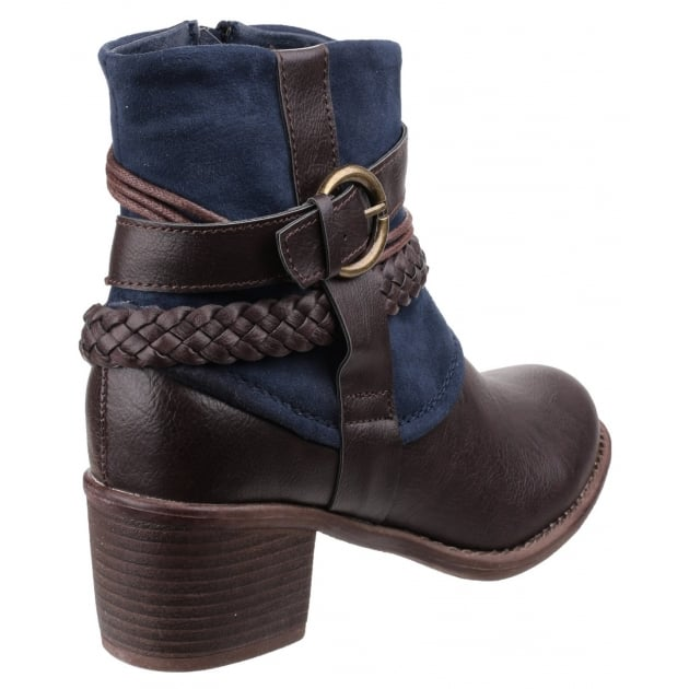 Divaz Vado Zip Up Ankle Boot Navy