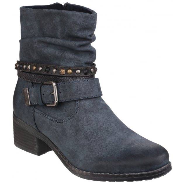 West Zip Up Ankle Boot Navy