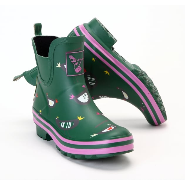 Evercreatures Chicken Meadow Ankle Wellies - Green