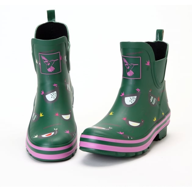 Evercreatures Chicken Meadow Ankle Wellies - Green Wellingtons