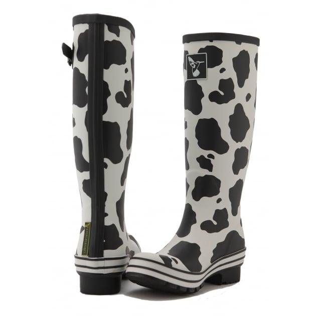 Evercreatures Cow Tall Wellies - Black & White