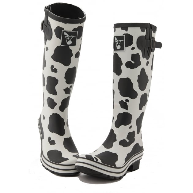 Evercreatures Cow Tall Wellies - Black & White Wellingtons