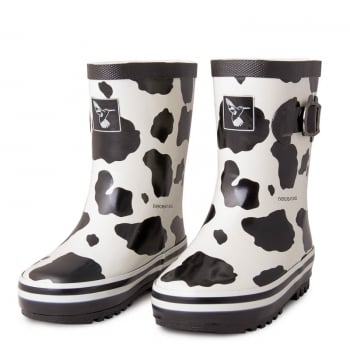 Evercreatures Kids Cow Wellies - Black/White Wellingtons