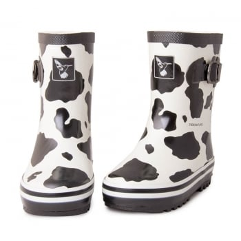 Evercreatures Kids Cow Wellies - Black/White Wellingtons