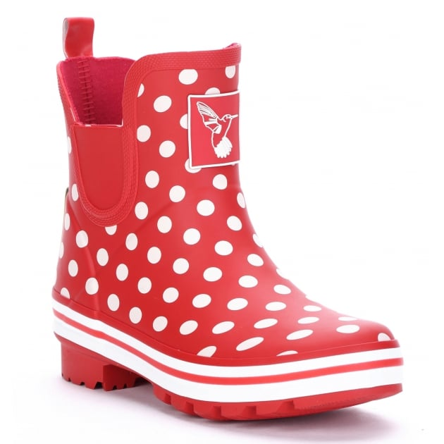 Evercreatures Polka Dot Meadow Ankle Wellies - Red Spot