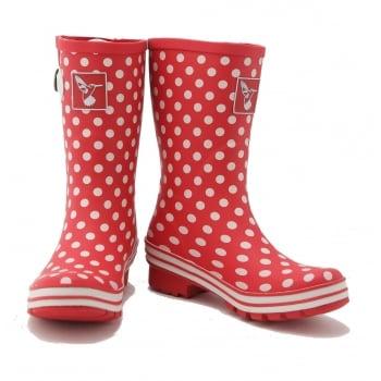 Evercreatures Polka Dot Short Wellies - Red Spot Wellingtons
