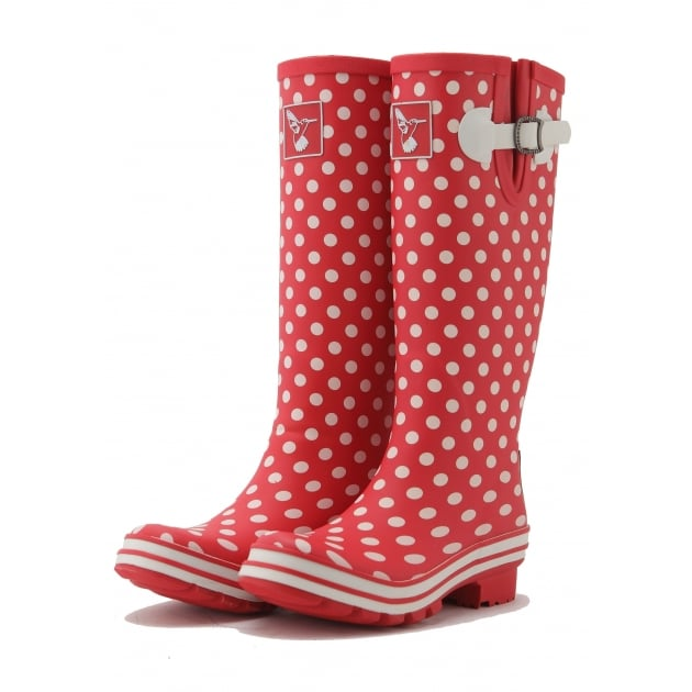 Evercreatures Polka Dot Tall Wellies - Red