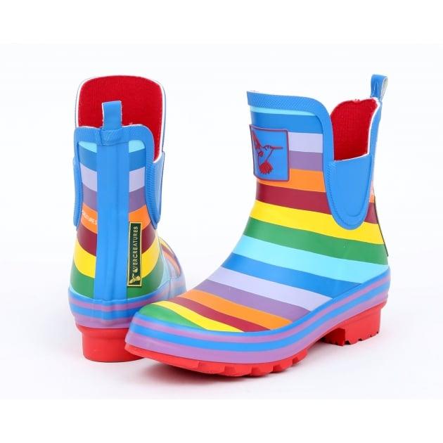 Evercreatures Rainbow Meadow Ankle Wellies - Multi Colour
