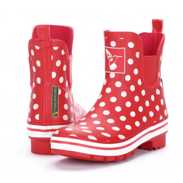Evercreatures Polka Dot Meadow Ankle Wellies - Red Spot Wellingtons