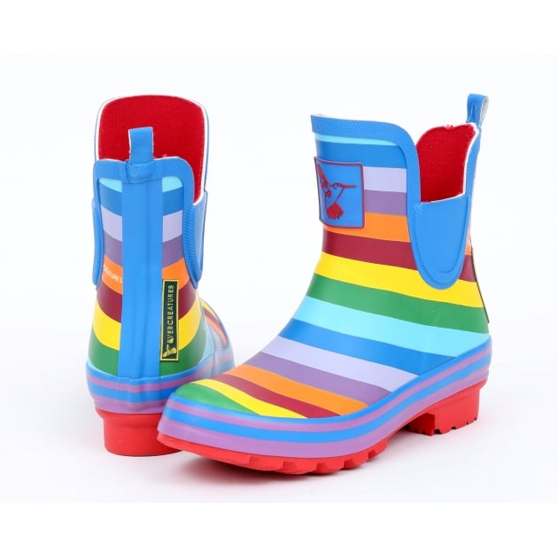 Evercreatures Rainbow Meadow Ankle Wellies - Multi Colour Wellingtons