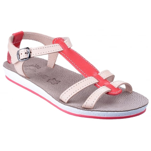 Lemnos Coral/Natural Sandals