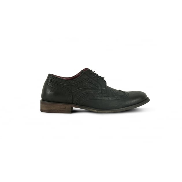 Front Maddox Brogue Shoe - Black