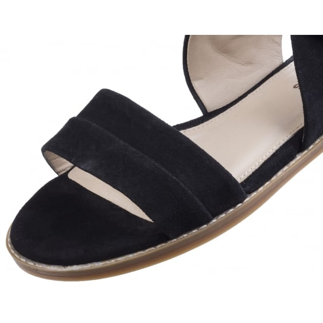 Abia Chrissie Women's Flat Sandal-Black Suede