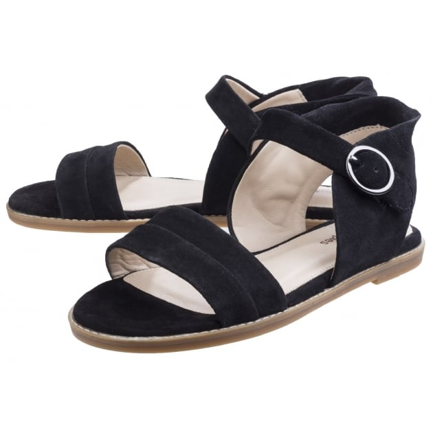 Hush Puppies Abia Chrissie Women's Flat Sandal-Black Suede