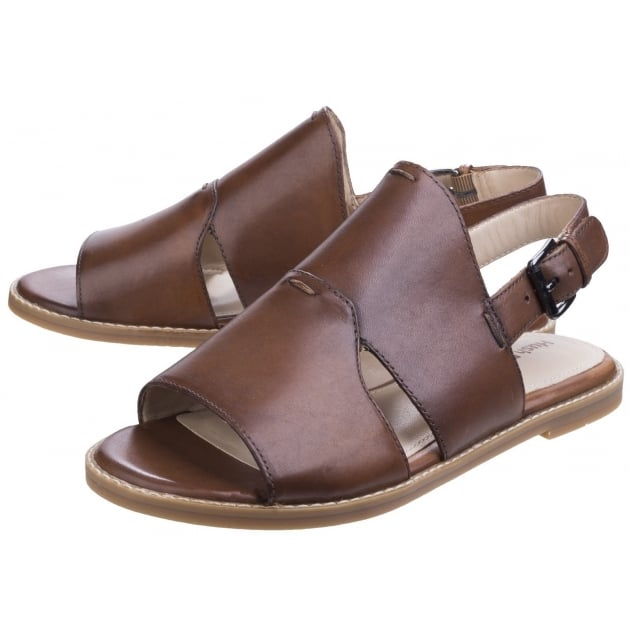 Hush Puppies Adiron Chrissie Ladies Buckle Shoe-Tan Leather