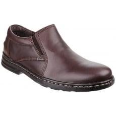 Hush Puppies Alan Hanston Dual Fit Slip on Shoe-Brown Leather