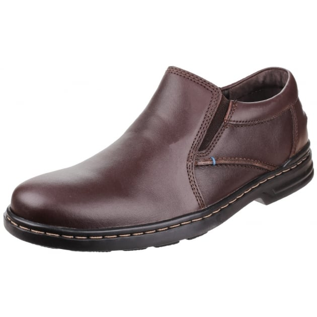 Hush Puppies Alan Hanston Dual Fit Slip on Shoe-Brown Leather