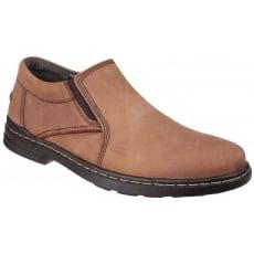 Hush Puppies Alan Hanston Dual Fit Slip on Shoe-Brown Nubuck