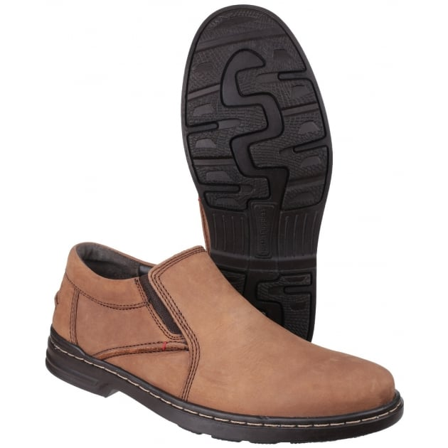 Hush Puppies Alan Hanston Dual Fit Slip on Shoe-Brown Nubuck