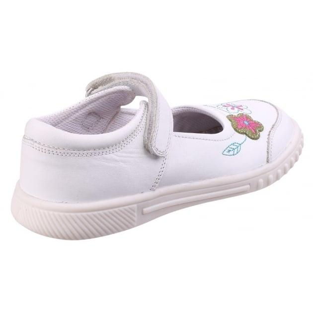 Hush Puppies Lottie Girls Junior Casual Shoe-WHITE