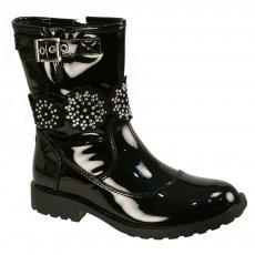 Lelli Kelly Bella 1 Lk5822 Black Patent Girls Boots