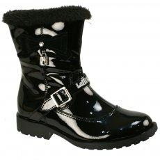 Lelli Kelly Mercy Lk5806 Black Patent Girls Boots