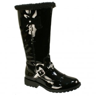 Lelli Kelly Millie Lk5808 Black Patent Girls Boots