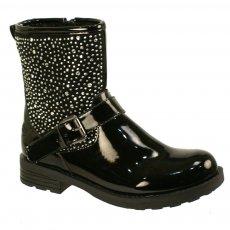 Lelli Kelly Polvere Di Stelle Lk5400 Black Patent Girls Boots