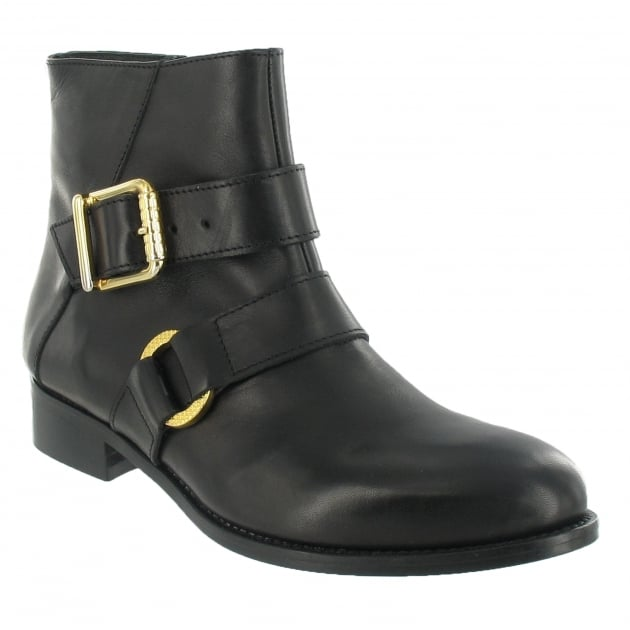 Ankle Boot With A Gold Buckle 1450L Black