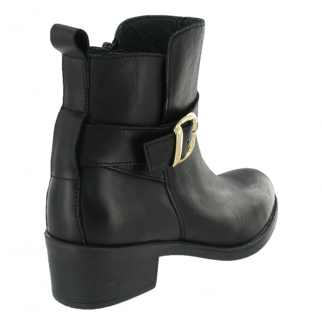 Marta Jonsson Ankle Boot With A Golden Buckle 3535L Black