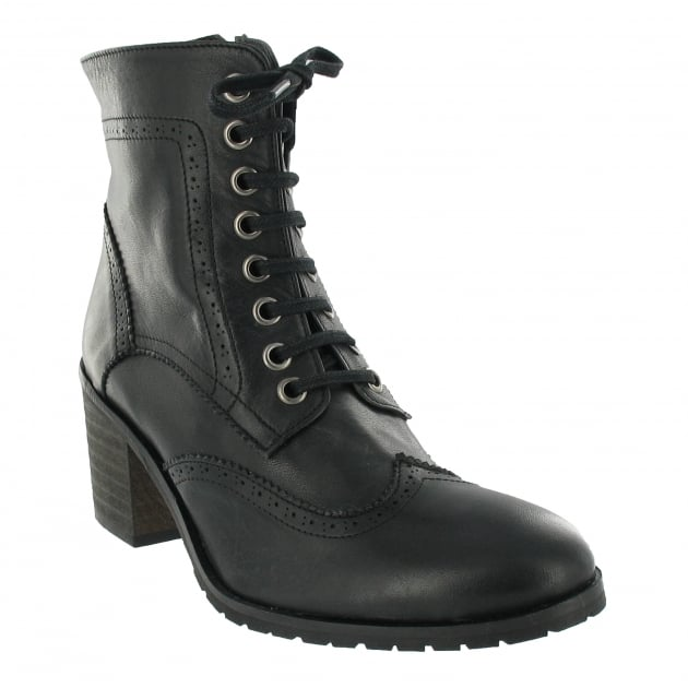 Marta Jonsson Brogue Ankle Boot With Laces 6028L Black