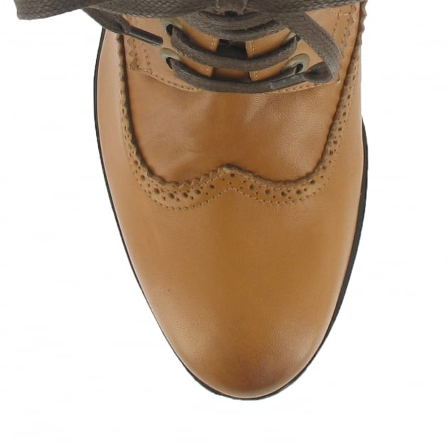 Marta Jonsson Brogue Ankle Boot With Laces 6028L Tan Boots