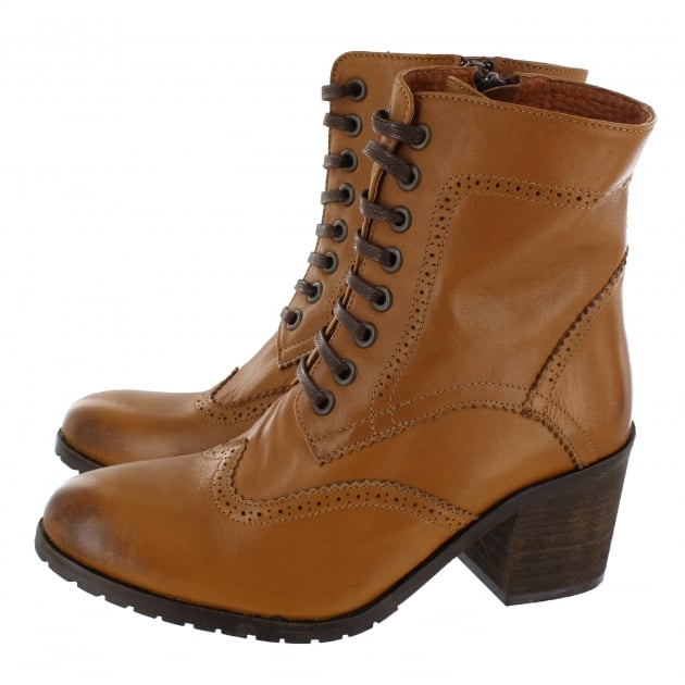 Marta Jonsson Brogue Ankle Boot With Laces 6028L Tan