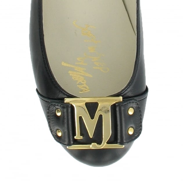 Marta Jonsson Court Shoe With Gold Mj Detail 2278L Black Shoes