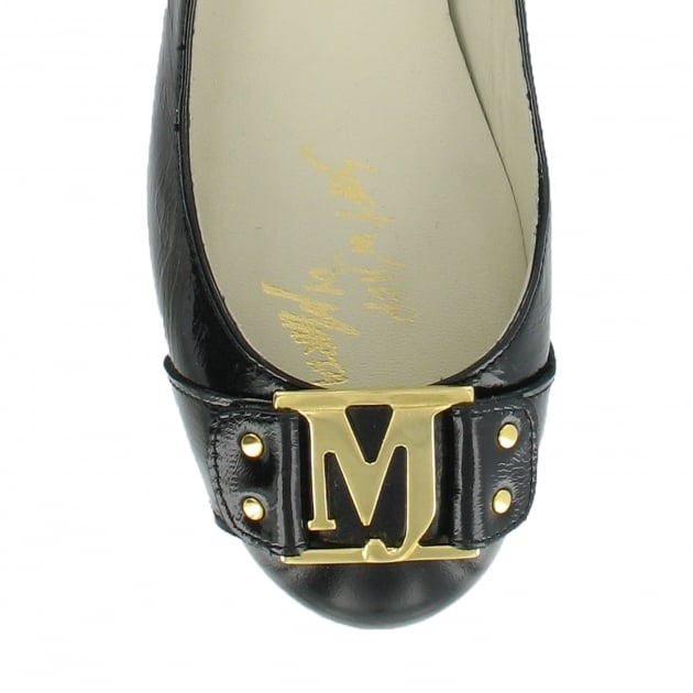 Marta Jonsson Court Shoe With Gold Mj Detail 2278P Black