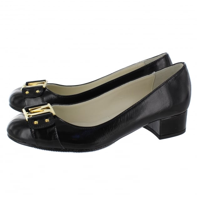 Marta Jonsson Court Shoe With Gold Mj Detail 2278P Black