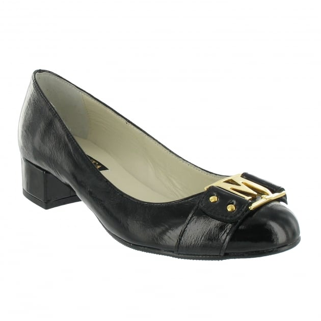 Marta Jonsson Court Shoe With Gold Mj Detail 2278P Black Shoes