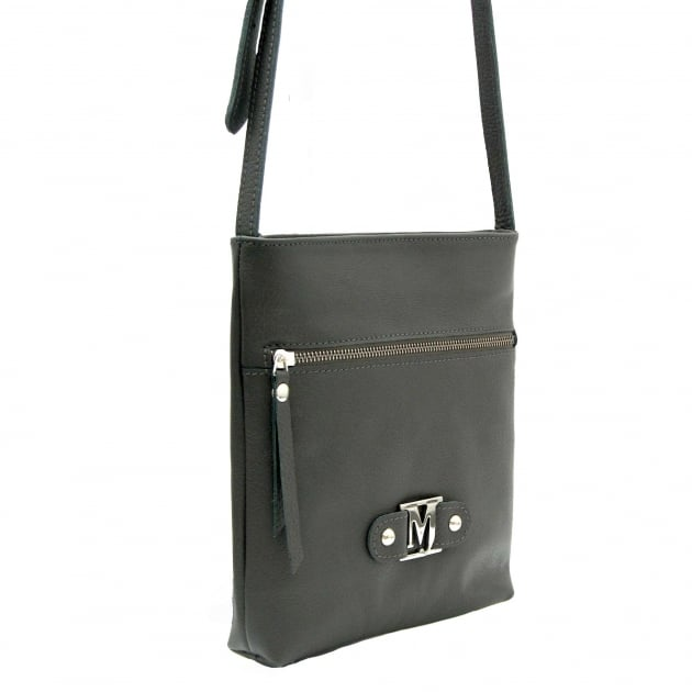 Cross Body Bag With Zipper 8309L Grey