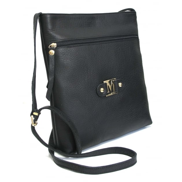 Cross Body Bag With Zipper 8356L Black