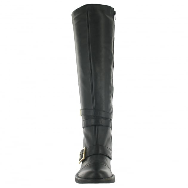 Knee High Boot With Buckles 6082L Black