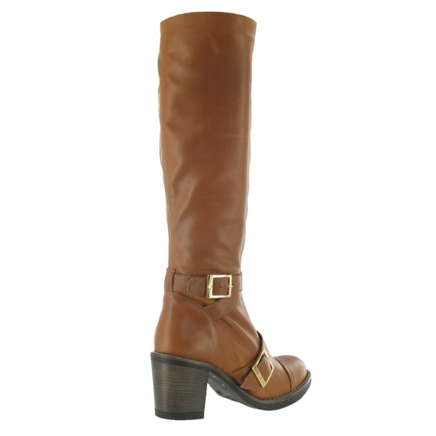 Knee High Boot With Buckles 6082L Tan