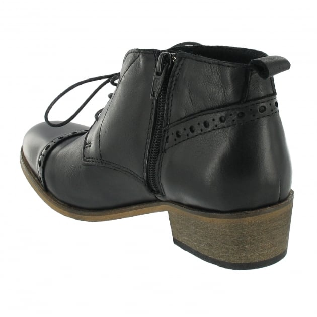 Marta Jonsson Lace Up Ankle Boot With Zip 5043L Black Boots