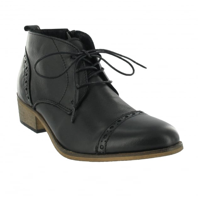 Marta Jonsson Lace Up Ankle Boot With Zip 5043L Black
