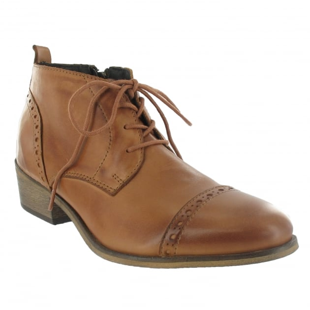 Marta Jonsson Lace Up Ankle Boot With Zip 5043L Tan