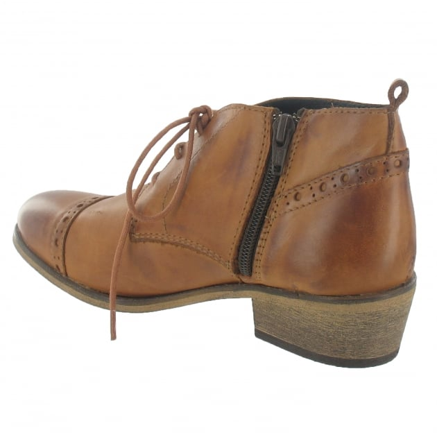 Lace Up Ankle Boot With Zip 5043L Tan