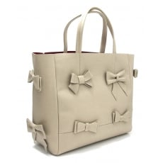 Marta Jonsson Leather Grab Bag With Bows 228L Beige