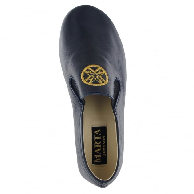 Marta Jonsson Leather Mens Slippers J901L Navy
