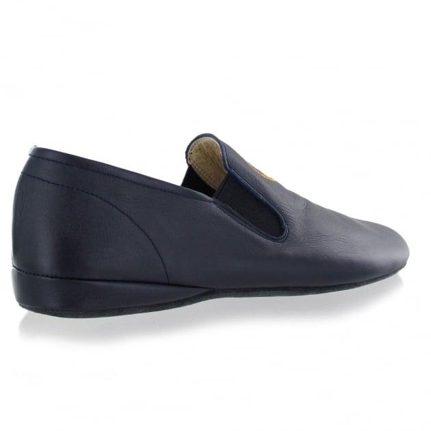 Marta Jonsson Leather Mens Slippers J901L Navy Slippers