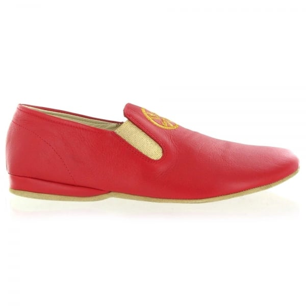 Leather Mens Slippers J901L Red