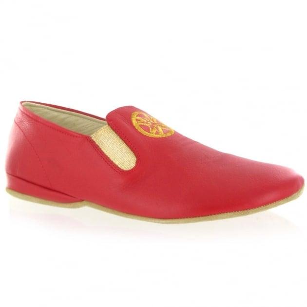 Marta Jonsson Leather Mens Slippers J901L Red Slippers